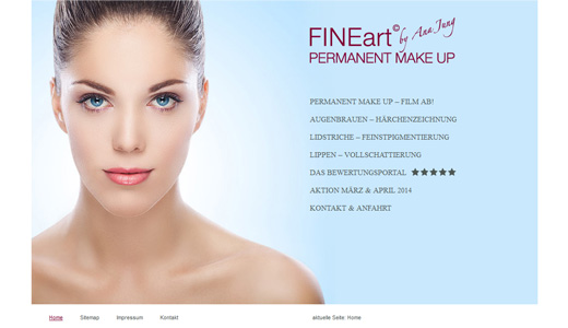 Webdesign und Programmierung vom Webdesigner patzerDesign für FINE Art, Permanent Make-Up.
